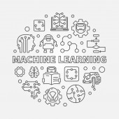 Machine Learning Concept round vector illustration in line style