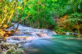 Beautiful waterfall in deep forest of Thailand, Breathtaking view of Huay Mea Kamin waterfall, Located Kanchanaburi, Thailand.