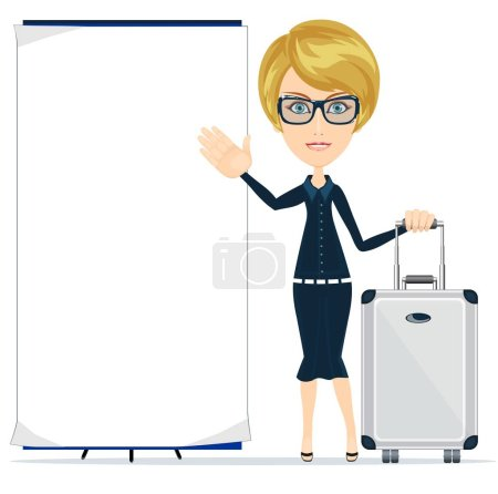 Photo for Young happy woman standing with suitcase and blank board. Stock flat vector illustration. - Royalty Free Image