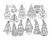 Contourline artline drawings of Christmas trees  simple children