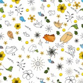 Seamless picture of flora and fauna theme in a simple style