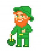 Ginger bearded leprechaun in green costume and hat with a pot of gold pixel art isolated on white background Irish folklore character St Patrick's Day card 8 bit slot machine/video game graphics