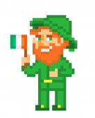Ginger bearded leprechaun in green costume & hat with a flag of Ireland pixel art isolated on white backgroundIrish folklore characterSt Patrick's Day card8 bit slot machine/video game graphics