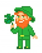Leprechaun with a lucky shamrock pixel art isolated on white background Irish folklore character St Patrick's Day card Old school 8 bit slot machine icon 8 bit slot machine/video game graphics