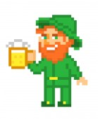 Leprechaun with a mug of beer pixel art isolated on white background Irish folklore character St Patrick's Day card Old school 8 bit slot machine icon 8 bit slot machine/video game graphics