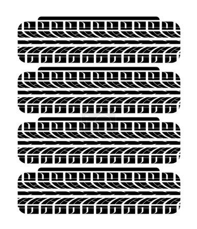 Autoräder stapeln sich. Reifenwechsel vor Saisonbeginn. Auto-Rad-Aufdruck-Ornament. Vektor