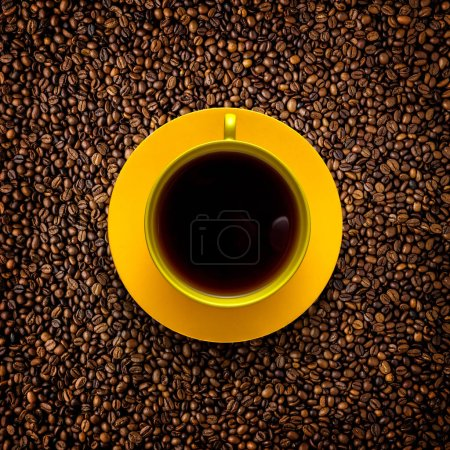 Photo for Creative concept photo of painted cup of coffee on beans background. - Royalty Free Image