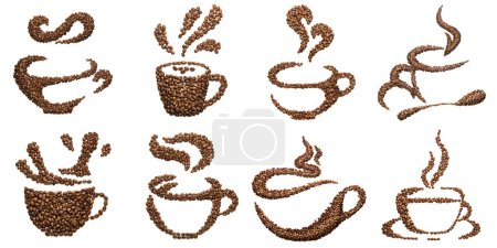 Photo for Set of cup shapes of roasted coffee beans isolated on white. - Royalty Free Image