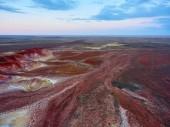 """Постер, картина, фотообои """"Птичьего полета на цвет горы Akzhar.Colored образований мела в горах Акжар расположены в центральном Казахстане."""""""