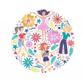 Cute decorative cover with women and flowers on white color Illustration on the theme of emotions good mood