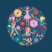 Colored cover with women and flowers on blue color Illustration on the theme of emotions good mood