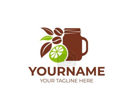 Illustration pour Café, cafe avec pot de maçon, citron vert, citron, grains de café et feuilles, modèle de logo. Restauration rapide et boissons, produits naturels et biologiques, design vectoriel, illustration - image libre de droit