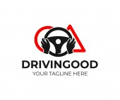 Driving school hands on the wheel with road signs logo design Training vehicle transport and transportation vector design and illustration