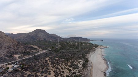 Photo pour Vue aérienne depuis le parc national Cabo Pulmo, Basse-Californie-du-Sud, Mexique . - image libre de droit