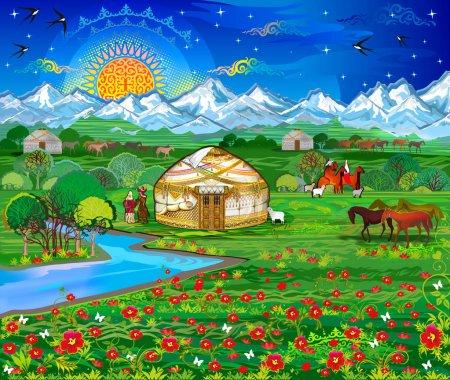 Photo pour Paysage, ciel vanillé, lever de soleil, aube, sommets enneigés, habitants du village, villageois, jeux kazakhs, Bayge, soleil, village, patrie, mariage, belles filles, filles kazakhes, danse des mariées, danseuses, patrie, yourte, yourte kazakhe, route blanche - image libre de droit
