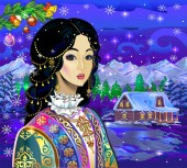 New Year New Year's adventures Santa Claus Christmas tree spruce snowdrifts snow winter village Santa Claus's house Snow Maiden snowman bullfinch stars snowflake Kazakh Snow Maiden Kazakh Christmas costume wallpaper new year
