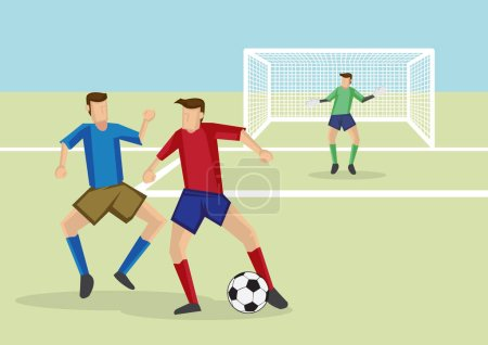 Soccer players dribbling soccer ball with defender marking and guarding closely. Cartoon vector illustration for association football sport.