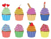 Set of eight colorful cupcakes vector icons isolated on white background