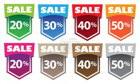 Illustration for Vector illustration of sale labels with different messages. - Royalty Free Image
