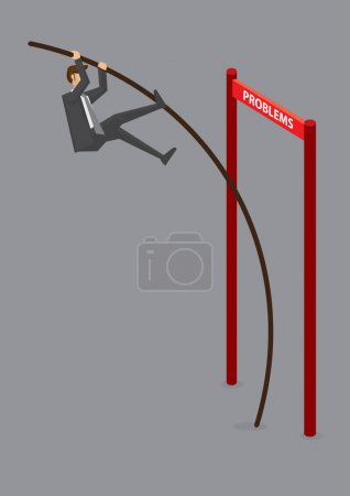Illustration for Businessman doing pole vaulting over horizontal barrier hurdle with text Problems. Creative vector illustration for overcoming problems and obstacles in business concept isolated on grey background - Royalty Free Image