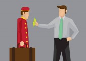 Tipping for Service in Hospitality Industry Vector Cartoon Illus