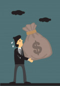 Cartoon Businessman Carries a Big Bag of Money Vector Illustrati