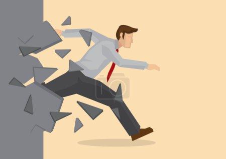 Kreative Cartoon-Vektor-Illustration eines Geschäftsmannes, der eine Mauer durchbricht. Metapher-Konzept vom Durchbrechen von Hindernissen zum Erfolg.