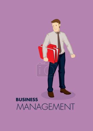 Illustration pour Illustration vectorielle d'un professionnel portant un dossier de document isolé sur fond violet avec du texte Business Management. - image libre de droit