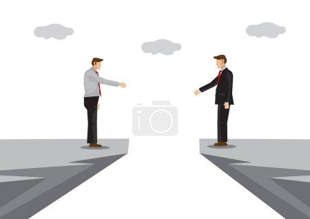 Geschäftsleute mit Barrieren versuchen, eine Verbindung mit einem Händedruck herzustellen. Konzept von Problemen oder Herausforderungen in der Unternehmenskooperation. Isolierte Vektorillustration.