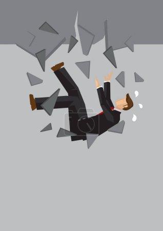 Kreative Cartoon-Vektor-Illustration des Geschäftsmannes fallen. Metapher-Konzept vom Scheitern des Geschäftsmannes