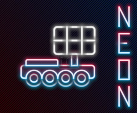 Photo for Glowing neon line Mars rover icon isolated on black background. Space rover. Moonwalker sign. Apparatus for studying planets surface. Colorful outline concept. Vector. - Royalty Free Image