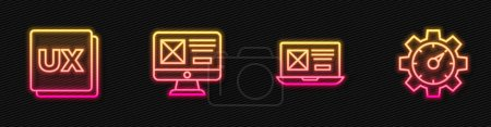 Photo for Set line UI or UX design, ,  and Website statistic. Glowing neon icon. Vector. - Royalty Free Image