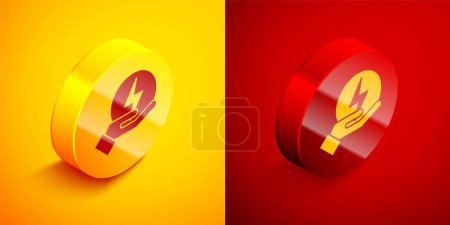 Photo for Isometric Lightning bolt icon isolated on orange and red background. Flash sign. Charge flash icon. Thunder bolt. Lighting strike. Circle button. Vector. - Royalty Free Image