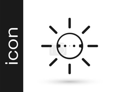Photo for Black Solar energy panel icon isolated on white background. Sun with lightning symbol.  Vector. - Royalty Free Image