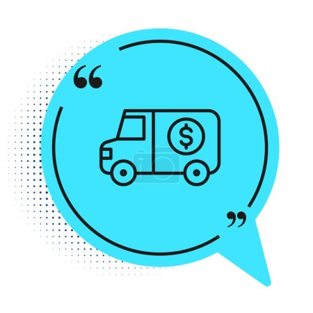 Photo for Black line Armored truck icon isolated on white background. Blue speech bubble symbol. Vector. - Royalty Free Image