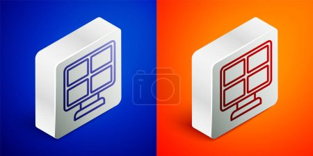 Photo for Isometric line Solar energy panel icon isolated on blue and orange background. Silver square button. Vector. - Royalty Free Image