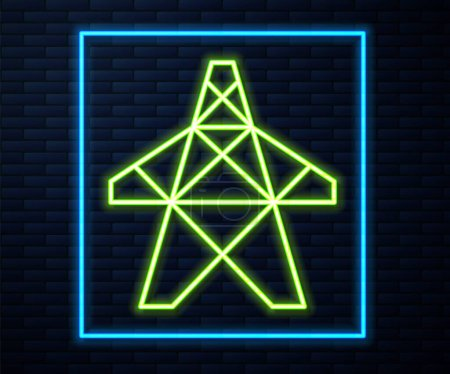 Photo for Glowing neon line Electric tower used to support an overhead power line icon isolated on brick wall background. High voltage power pole line.  Vector. - Royalty Free Image