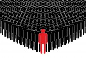 Leader and crowd People standing in a crowd after the leader Human silhouettes Vector illustration