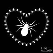Happy Halloween card with spider's heart I love Halloween Vector illustration
