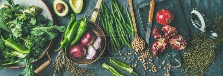 Photo for Winter vegetarian, vegan food cooking ingredients - Royalty Free Image