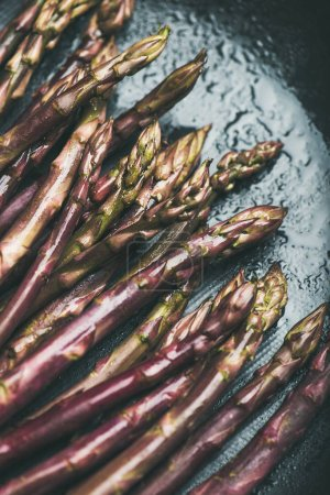 Fresh raw uncooked purple asparagus over dark background
