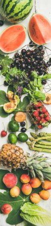 Photo for Summer food background. Seasonal fruit, vegetables and greens over white wooden background - Royalty Free Image