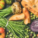 Healthy vegetarian seasonal Fall food cooking back...