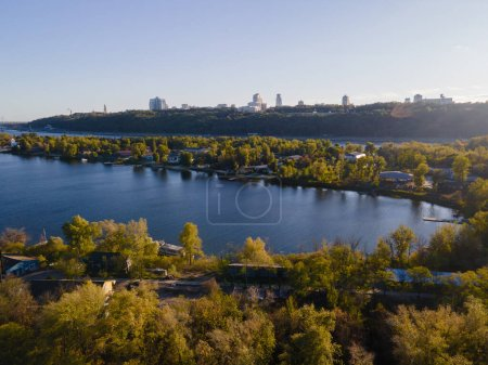 Photo for Aerial view of the fresh dnieper river in kiev city - Royalty Free Image