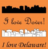 Dover city silhouette on colored background