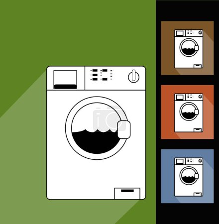 Photo for Washing machine on color background, simple vector illustration - Royalty Free Image