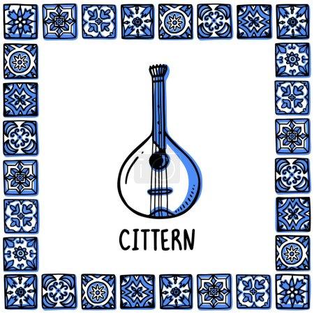Portugal landmarks set. Portuguese fado guitar, cittern. Guiter in frame of Portuguese tiles, azulejo. Handdrawn sketch style vector illustration. Exellent for souvenirs, magnets, banner, post cards