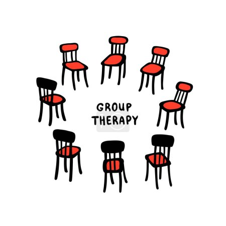Psychology. Group therapy. Hand drawn chairs arran...