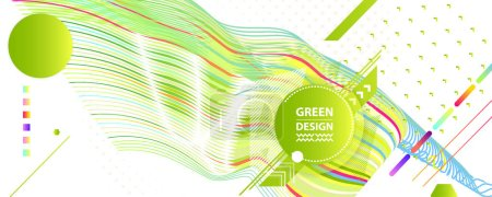 Illustration for Bright summer background banner collage geometry ecology poster. Futuristic minimal geometric hipster white background. Green and yellow lines and points natural - Royalty Free Image