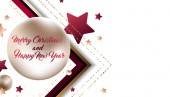 3D Christmas and New Year holiday background vector illustration of Gold volume balls and sweets